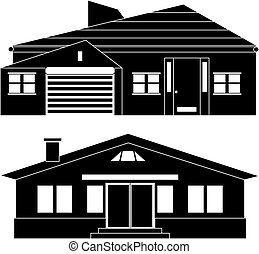 Private house - Black and white illustration of a private...
