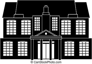 Classical house - Black and white illustration of a...