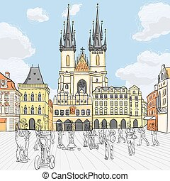 Vector Old Town square in Prague, Czech Republic -...