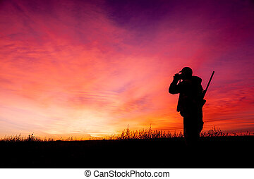 Rifle Hunter in Sunrise