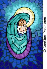 Madonna - Illustration of Madonna with infant Jesus in her...