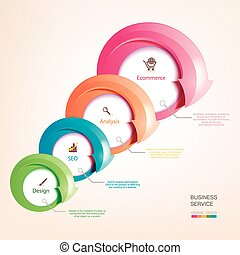 Set of colorful arrows. Infographics with arrows pointing to...