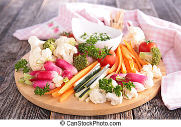 fresh vegetables with dip