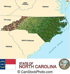 North Carolina Counties map