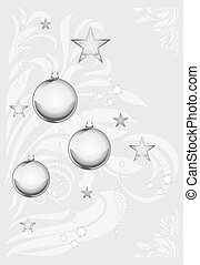 Silver Christmas toys. Background - Silver Christmas toys on...