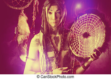 dreamcatcher - Portrait of the American Indian Ethnicity and...