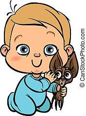 Funny vector cartoon colorfull baby with his dog. Vector...