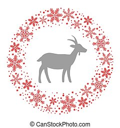 Winter Christmas Round Wreath with Snowflakes and Goat. Blue...