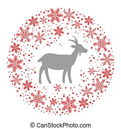 Winter Christmas Round Wreath with Snowflakes and Goat. Red Grey