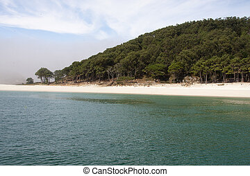 the Cies Island beach, galicia, spain