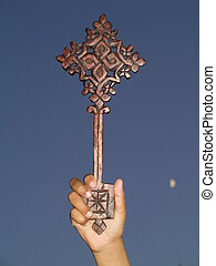 orthodox cross - hand with ethiopian cross