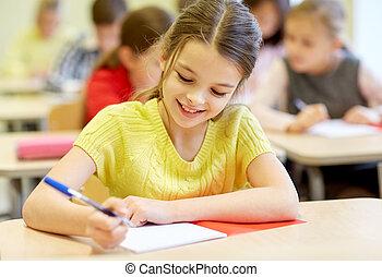 grupo, de, escuela, niños, escritura, prueba, en,...