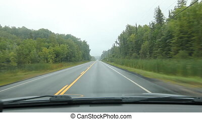 Driving in Muskoka. Straightaway. - Driving on a misty...