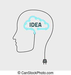 silhouette idea - silhouette of a man with cloud idea,...