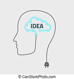 silhouette idea - silhouette of a man with cloud idea,...