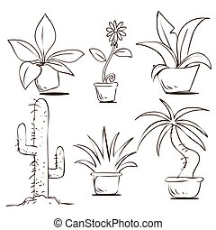 Plants in Pots - Vector illustration of potted plants in...