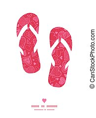 Vector doodle hearts flip flops silhouettes pattern frame...