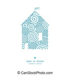 Vector abstract swirls house silhouette pattern frame...