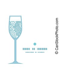 Vector abstract swirls wine glass silhouette pattern frame