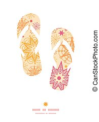 Vector warm stars flip flops silhouettes pattern frame...