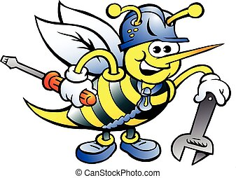 Bee Holding Wrench and Screw Driver - Hand-drawn Vector...