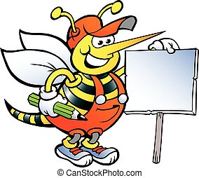 Happy Working Bee Holding a Sign - Hand-drawn Vector...
