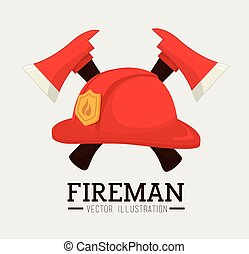 Firefigther design over white background vector illustration...