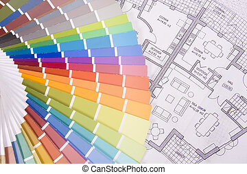 colorful palette over a blueprint - background colorful...
