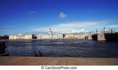 Neva river granite bank, St Petersburg, Russia - SAINT...