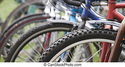 Bike Tires and Wheels - Photo of Miscellaneous Bikes Parked...