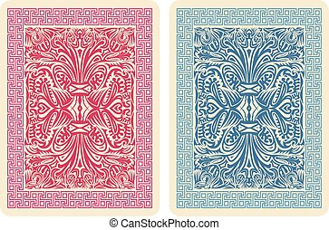 Playing Card Back Designs. Vector Illustrator eps 10.
