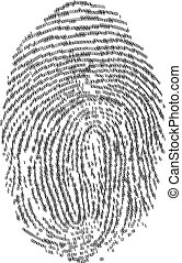 Fingerprints - Fingerprint made with binary code, futuristic...