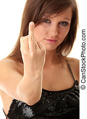 Beautiful, young woman posing with middle finger up
