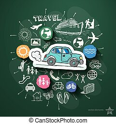 Travel collage with icons on blackboard