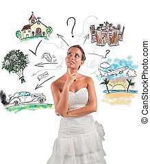 Wedding planner - Woman thinks how to organize her wedding