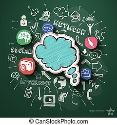 Social networking collage with icons on blackboard. Vector...