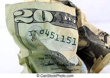 USA Currency Twenty Dollar Bill - Fragment of Twenty Dollar...