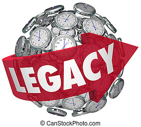 Legacy Word Arrow Clock Spheres Lasting Impression Time...