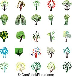 Trees - 25 set icon trees vector