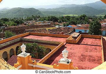 Trinidad, Cuba - View over rooftops in Trinidad, Cuba - A...