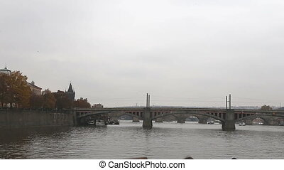 View of Prague from Vltava River - View of Prague from the...