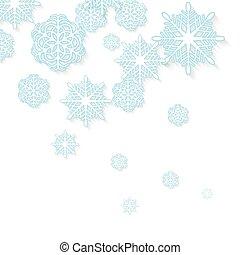 Blue snowflakes on white background