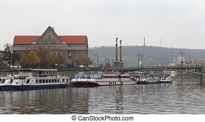 View of Prague from Vltava River