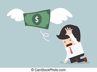 Money is flying away from sadness businessman, VECTOR, EPS10