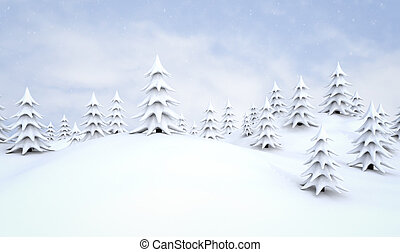 Snow covered winter forest, falling snow