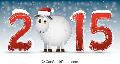 2015 Happy New Year background with sheep Vector...