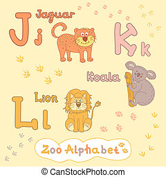Colorful children's alphabet with animals, jaguar, koala, lion