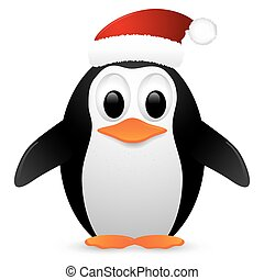 Penguin with santa hat. Vector illustration.