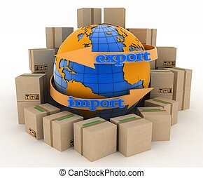 Import and export arrow around earth for business Concept of...
