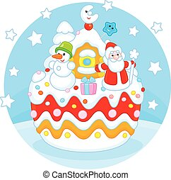 Christmas cake - Holiday cake with Father Christmas, his...
